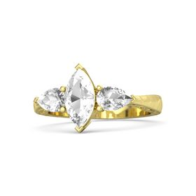 Marquise Rock Crystal 14K Yellow Gold Ring with Rock Crystal