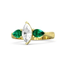 Marquise Rock Crystal 14K Yellow Gold Ring with Emerald