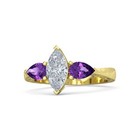 Marquise Diamond 14K Yellow Gold Ring with Amethyst