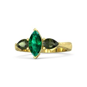 Marquise Emerald 14K Yellow Gold Ring with Green Tourmaline