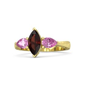 Marquise Red Garnet 14K Yellow Gold Ring with Pink Sapphire
