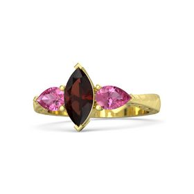 Marquise Red Garnet 14K Yellow Gold Ring with Pink Tourmaline