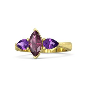 Marquise Rhodolite Garnet 14K Yellow Gold Ring with Amethyst