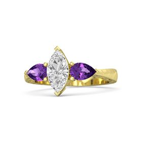 Marquise White Sapphire 14K Yellow Gold Ring with Amethyst