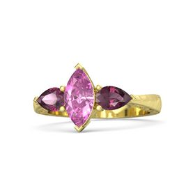 Marquise Pink Sapphire 14K Yellow Gold Ring with Rhodolite Garnet