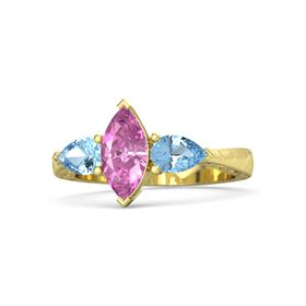 Marquise Pink Sapphire 14K Yellow Gold Ring with Blue Topaz