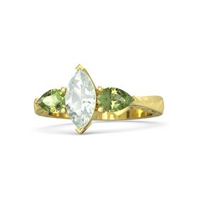 Marquise Green Amethyst 14K Yellow Gold Ring with Peridot