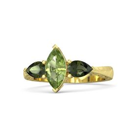 Marquise Peridot 14K Yellow Gold Ring with Green Tourmaline