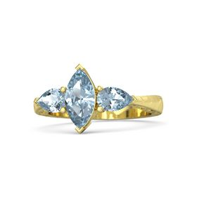 Marquise Aquamarine 14K Yellow Gold Ring with Aquamarine
