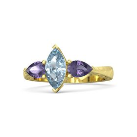 Marquise Aquamarine 14K Yellow Gold Ring with Iolite