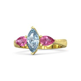 Marquise Aquamarine 14K Yellow Gold Ring with Pink Tourmaline