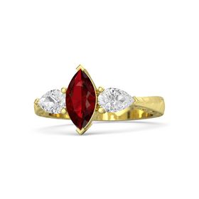 Marquise Ruby 14K Yellow Gold Ring with White Sapphire