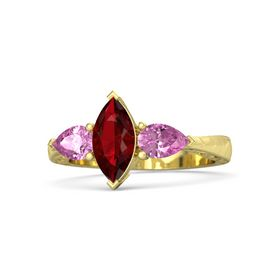 Marquise Ruby 14K Yellow Gold Ring with Pink Sapphire