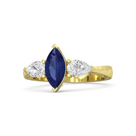 Marquise Sapphire 14K Yellow Gold Ring with White Sapphire