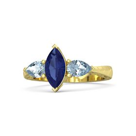 Marquise Blue Sapphire 14K Yellow Gold Ring with Aquamarine