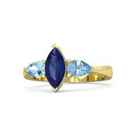 Marquise Blue Sapphire 14K Yellow Gold Ring with Blue Topaz