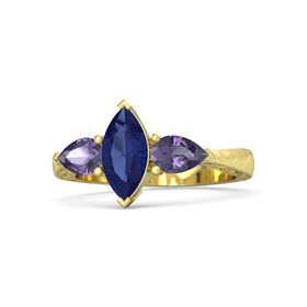 Marquise Blue Sapphire 14K Yellow Gold Ring with Iolite
