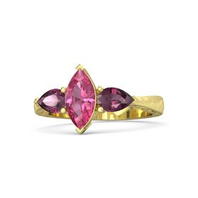 Marquise Pink Tourmaline 14K Yellow Gold Ring with Rhodolite Garnet