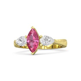 Marquise Pink Tourmaline 14K Yellow Gold Ring with White Sapphire