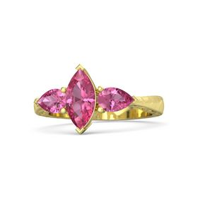 Marquise Pink Tourmaline 14K Yellow Gold Ring with Pink Tourmaline