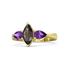 Marquise Smoky Quartz 14K Yellow Gold Ring with Amethyst