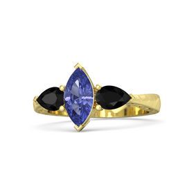Marquise Tanzanite 14K Yellow Gold Ring with Black Onyx