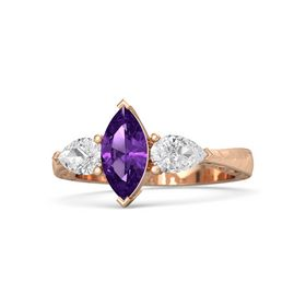 Marquise Amethyst 18K Rose Gold Ring with White Sapphire