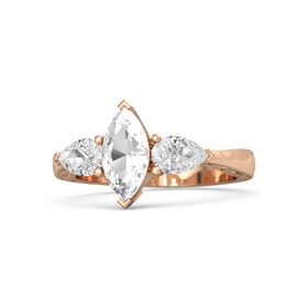 Marquise Rock Crystal 18K Rose Gold Ring with White Sapphire