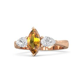 Marquise Citrine 18K Rose Gold Ring with White Sapphire