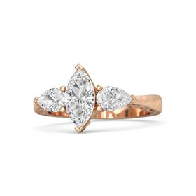 Marquise White Sapphire 18K Rose Gold Ring with White Sapphire