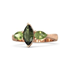 Marquise Green Tourmaline 18K Rose Gold Ring with Peridot