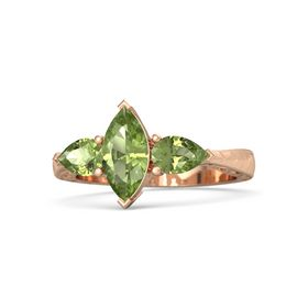 Marquise Peridot 18K Rose Gold Ring with Peridot