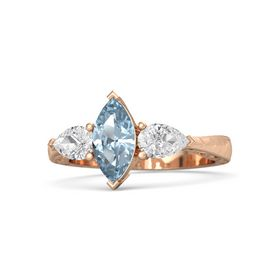 Marquise Aquamarine 18K Rose Gold Ring with White Sapphire