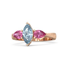 Marquise Aquamarine 18K Rose Gold Ring with Pink Tourmaline