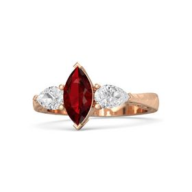 Marquise Ruby 18K Rose Gold Ring with White Sapphire