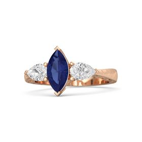 Marquise Sapphire 18K Rose Gold Ring with White Sapphire