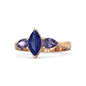 Marquise Blue Sapphire 18K Rose Gold Ring with Iolite