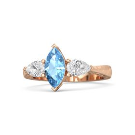 Marquise Blue Topaz 18K Rose Gold Ring with White Sapphire