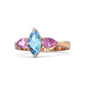 Marquise Blue Topaz 18K Rose Gold Ring with Pink Sapphire