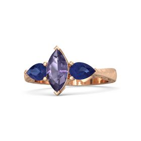 Marquise Iolite 18K Rose Gold Ring with Blue Sapphire
