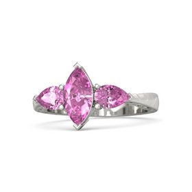 Marquise Pink Sapphire 18K White Gold Ring with Pink Sapphire