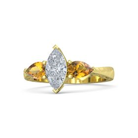 Marquise Diamond 18K Yellow Gold Ring with Citrine