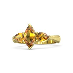 Marquise Citrine 18K Yellow Gold Ring with Citrine