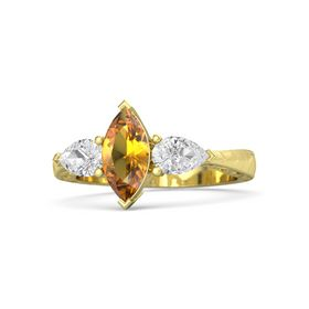 Marquise Citrine 18K Yellow Gold Ring with White Sapphire