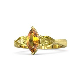 Marquise Citrine 18K Yellow Gold Ring with Yellow Sapphire