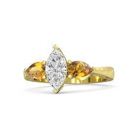 Marquise White Sapphire 18K Yellow Gold Ring with Citrine