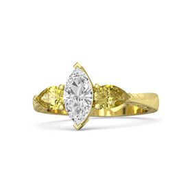 Marquise White Sapphire 18K Yellow Gold Ring with Yellow Sapphire