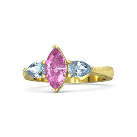 Marquise Pink Sapphire 18K Yellow Gold Ring with Aquamarine