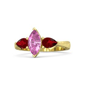 Marquise Pink Sapphire 18K Yellow Gold Ring with Ruby