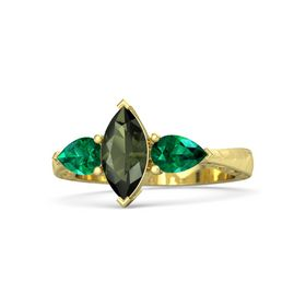 Marquise Green Tourmaline 18K Yellow Gold Ring with Emerald